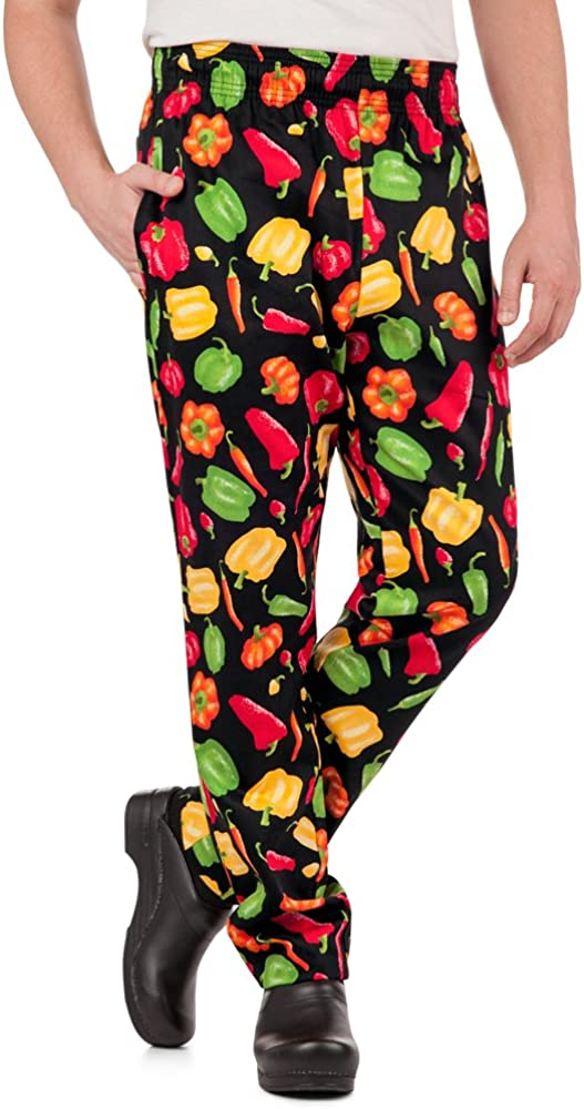Men's Peppers Print Chef Pant (XS-3X) | Traditional Baggy Fit, 100% Cotton, Elastic Waist