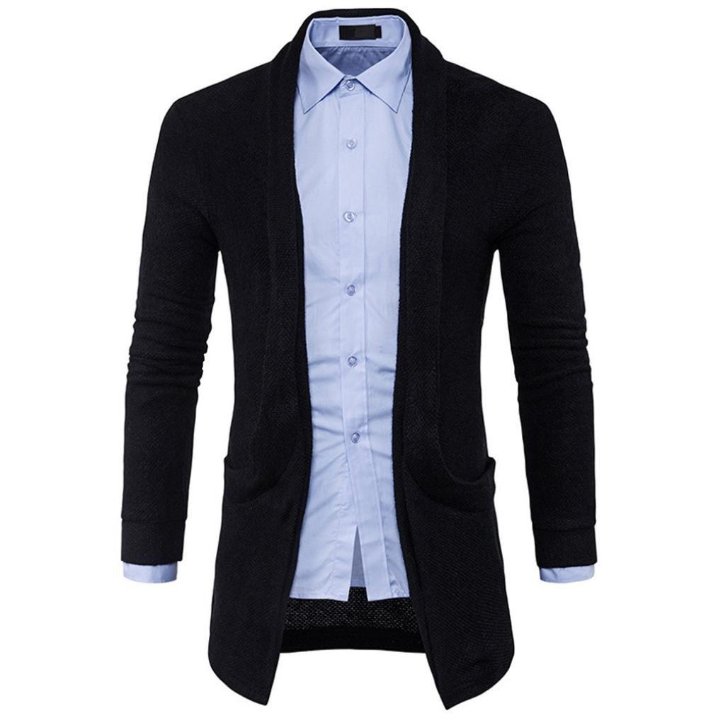 Hattfart Mens Long Sleeve Slim Fit Soft Draped Lightweight Open Front Longline Cardigan (Black, L)