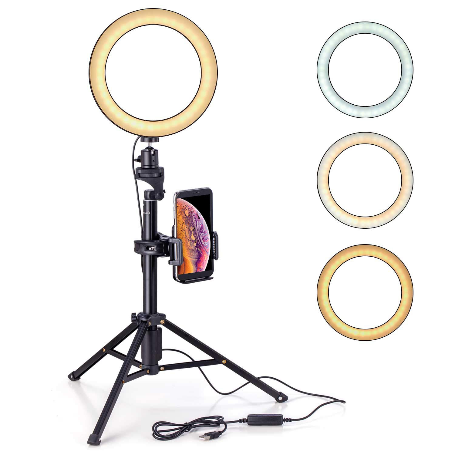 Eocean 8 inches Selfie Ring Light with Tripod Ring Light with Stand(54 inchesTripod) for YouTube/Live Stream/Makeup, Mini Led Camera Ringlight for Vlog/Video/Photography Compatible with iPhone Android by Eocean
