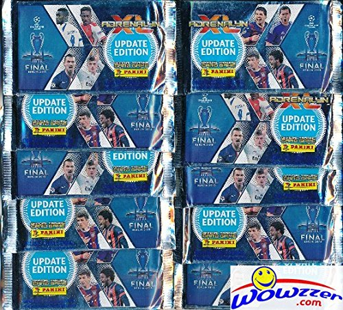 (2015 Panini Adrenalyn Champions League Update Lot of TEN(10) Factory Sealed Booster Packs with 60 Cards! Imported from Europe! Look for Top Stars including Ronaldo, Messi, Neymar and Many More!)