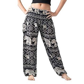 LeeMon Pantalones Anchos para Mujer, Estilo Bohemio, para ...