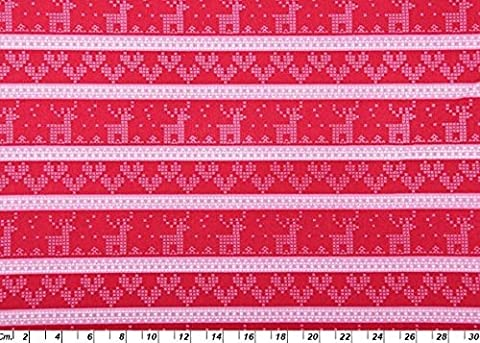 SCANDI CHRISTMAS FABRIC BY HALF METRE Reindeer Hearts Stripe in Pink White on Red Fabric - COP08 - Christmas Fabric - 100% Cotton by Scandi - 1032 Red Kitchen