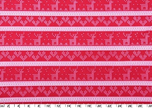 1032 Red Kitchen (SCANDI CHRISTMAS FABRIC BY HALF METRE Reindeer Hearts Stripe in Pink White on Red Fabric - COP08 - Christmas Fabric - 100% Cotton by Scandi Christmas)