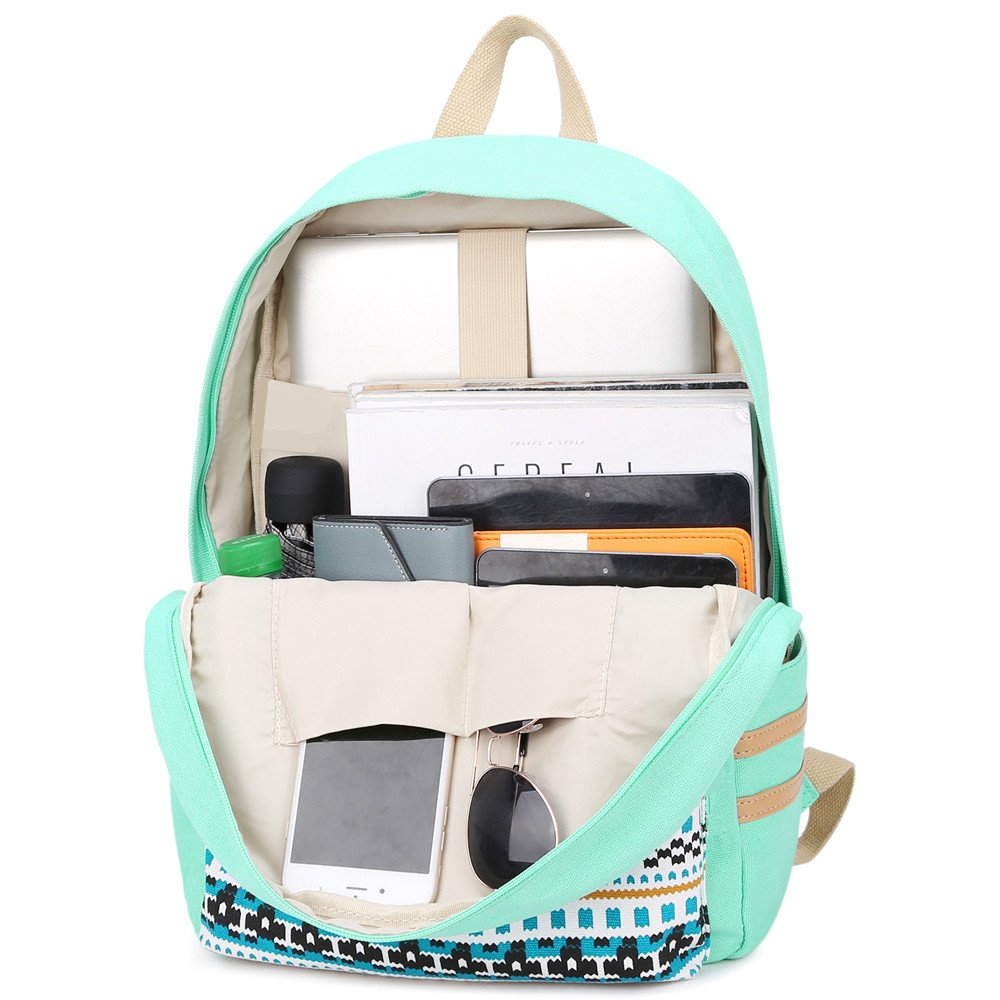 E0027-Black School Backpack Girls Bookbag Set Laoptop Backpack+Lunch Box+Pencil Pouch