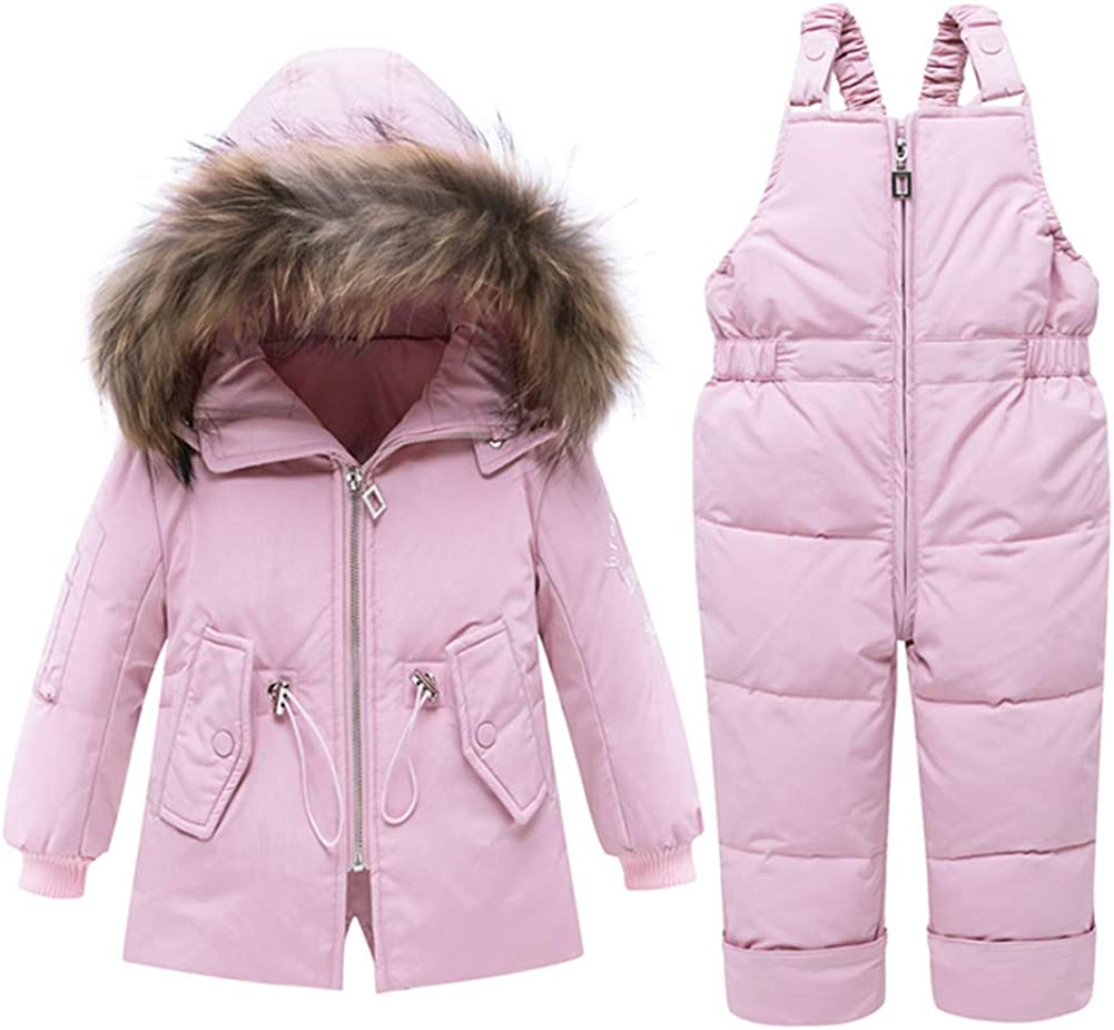 ZOEREA Girls Winter Snowsuit Trousers Snowsuit Warm Clothes Newest Children Girls Clothing Sets Winter Hooded Duck Down Jacket