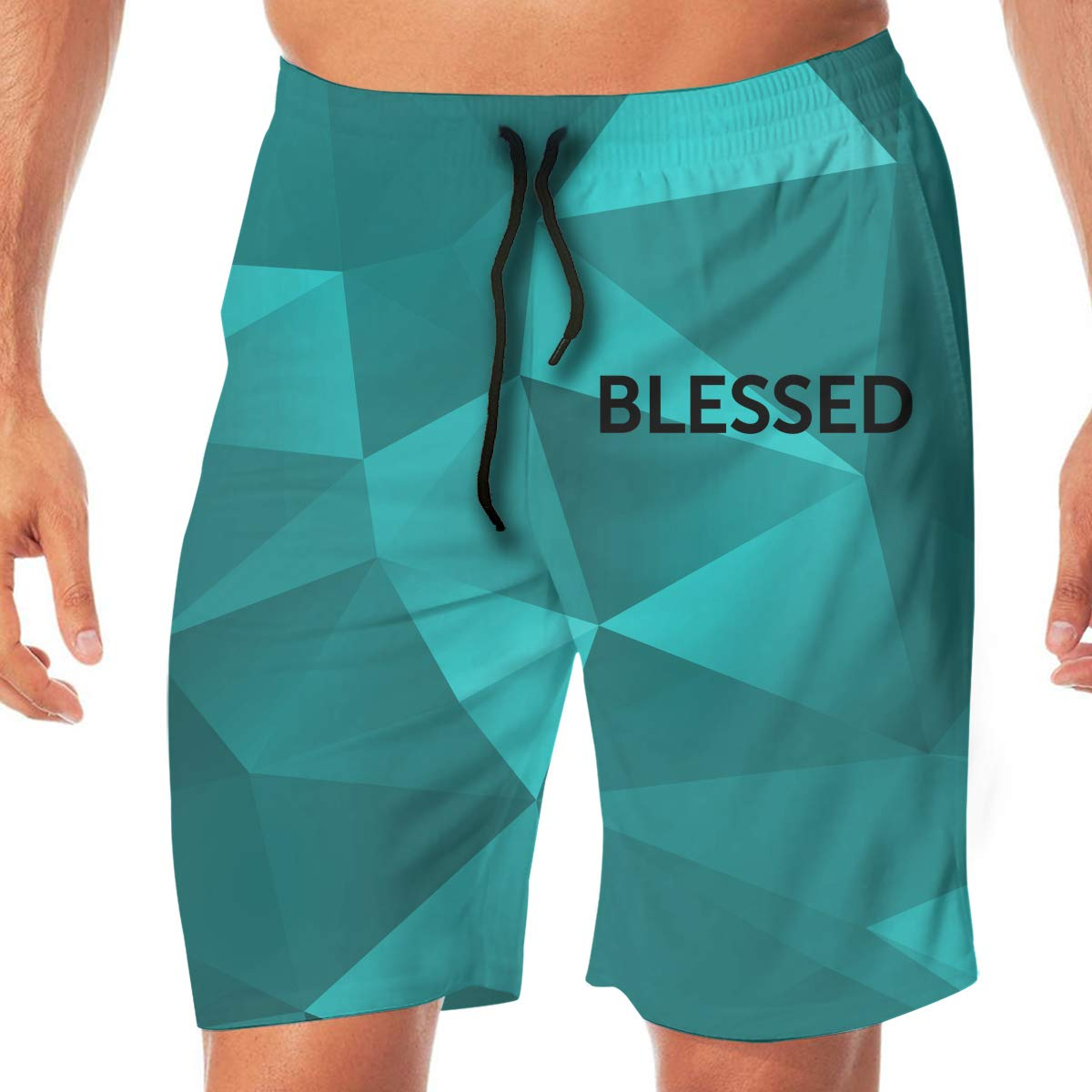 Printed Blessed Mens Classic Swim Beach Shorts with Pockets