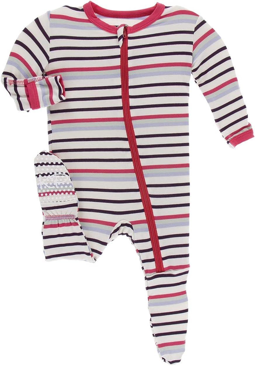 Kickee Pants Little Girls Print Footie with Zipper - Chemistry Stripe, 9-12 Months