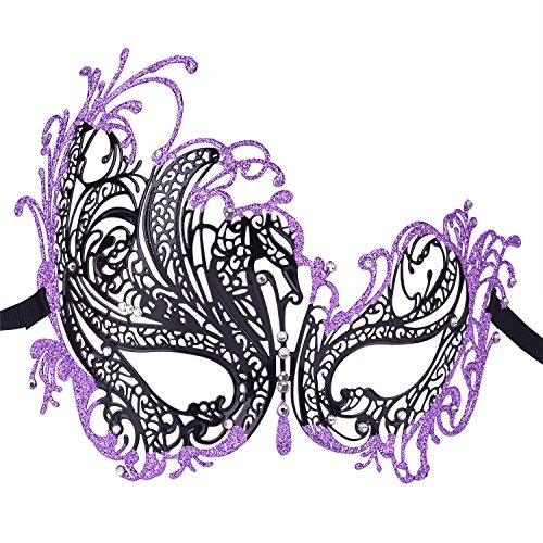[Coxeer Women's Laser Cut Metal Masquerade Mask Mardi Gras Mask Halloween Mask (Black/Purple)] (Masquerade Masks Metal)