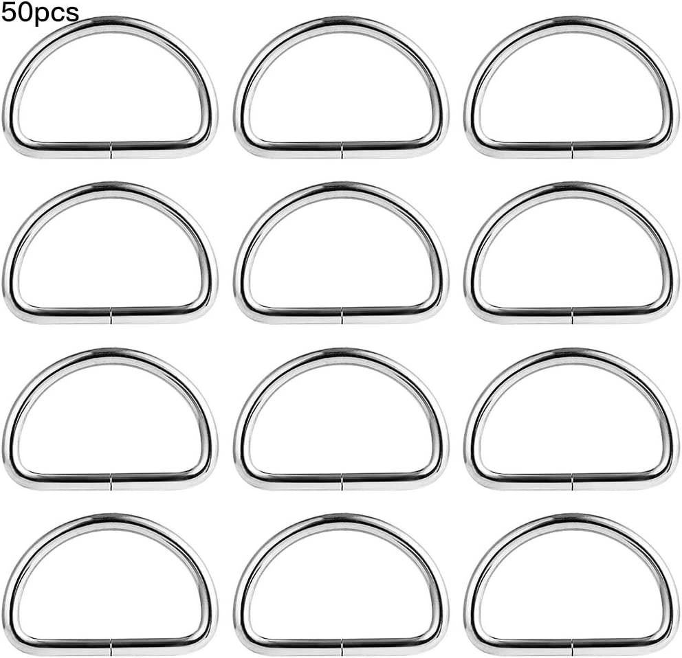 MZMing 50 Pieces D-Rings Metal Nickel Plated D Ring Buckles 25mm Non Welded Loop Durable D-Ring Fasteners for Bag Buckle Purse Handle Webbing Strap Dog Collar Backpack DIY Accessories