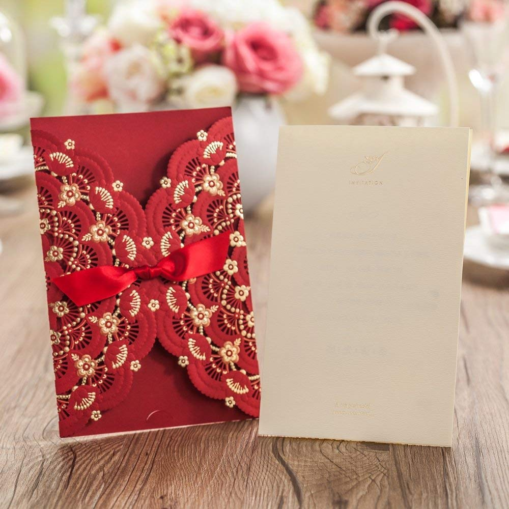Amazon.com: Wedding Invitations Cards Red with Floral Lace Ribbon ...