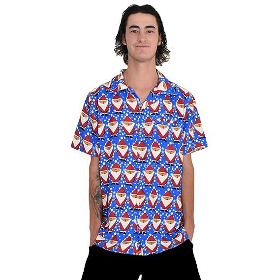 Island Style Clothing Father Xmas Blue Mens Hawaiian Shirt Christmas