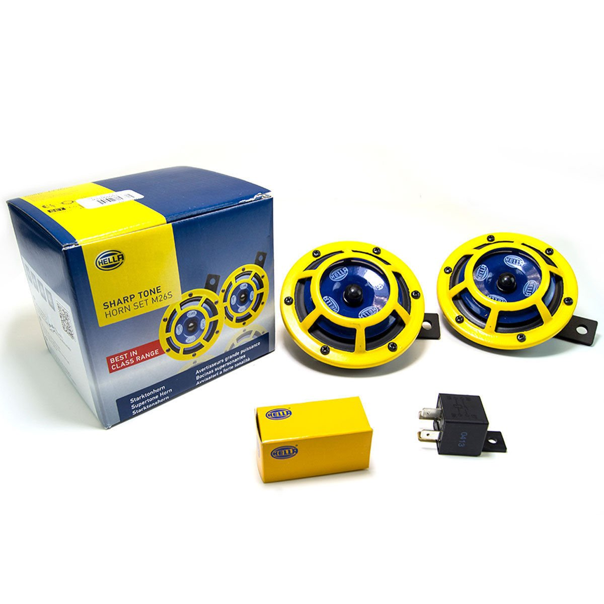 Hella Yellow Panther Car Horn (Pair)+Relay