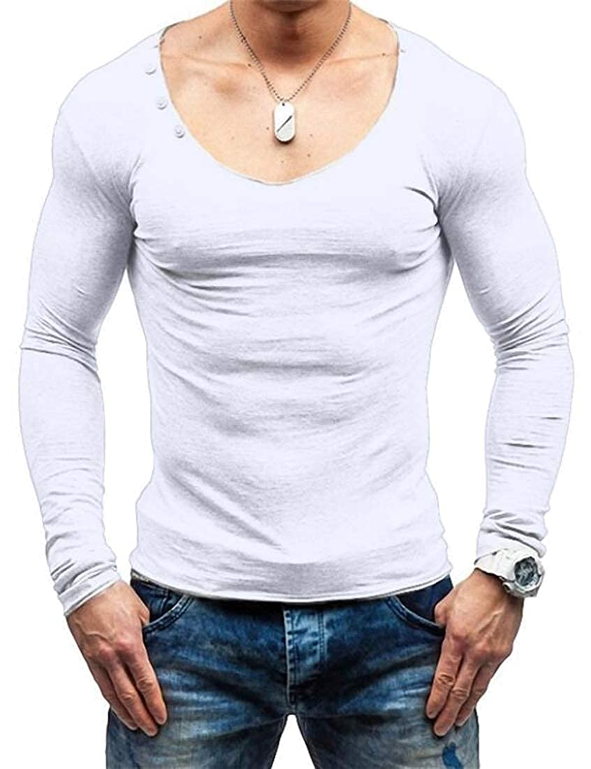 Mstyle Mens Long Sleeve Casual Pure Color V-Neck Active Top Shirt