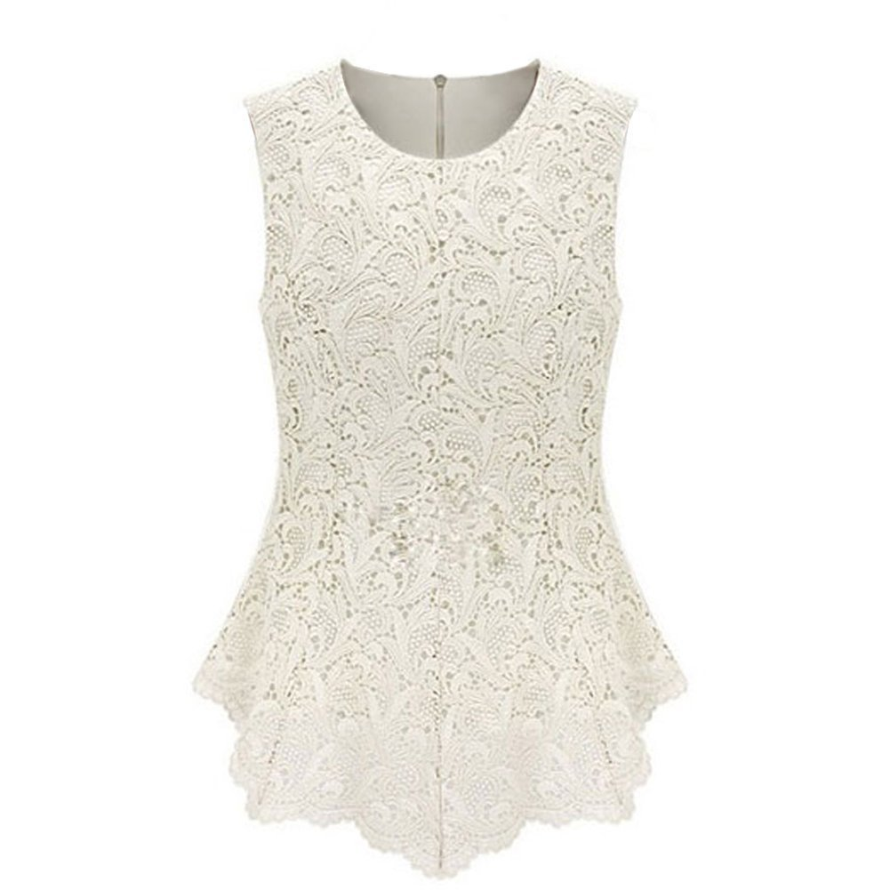 OFTEN Women's Sexy Chic Lace Shirt Fashion Sleeveless Blouse Tops,White,4X-Large