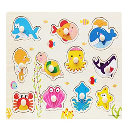 TOYMYTOY Wooden Jigsaw Puzzles Sea Animals Puzzles Early Development Education Toy for Baby Toddler
