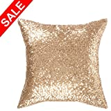 """Kevin Textile Decorative Euro Throw Pillow Cover Sham Solid Luxurious Sequin Throw Pillow Cover Sham,18""""x18""""(45cmx45cm),1 Pack, (Light Gold)"""