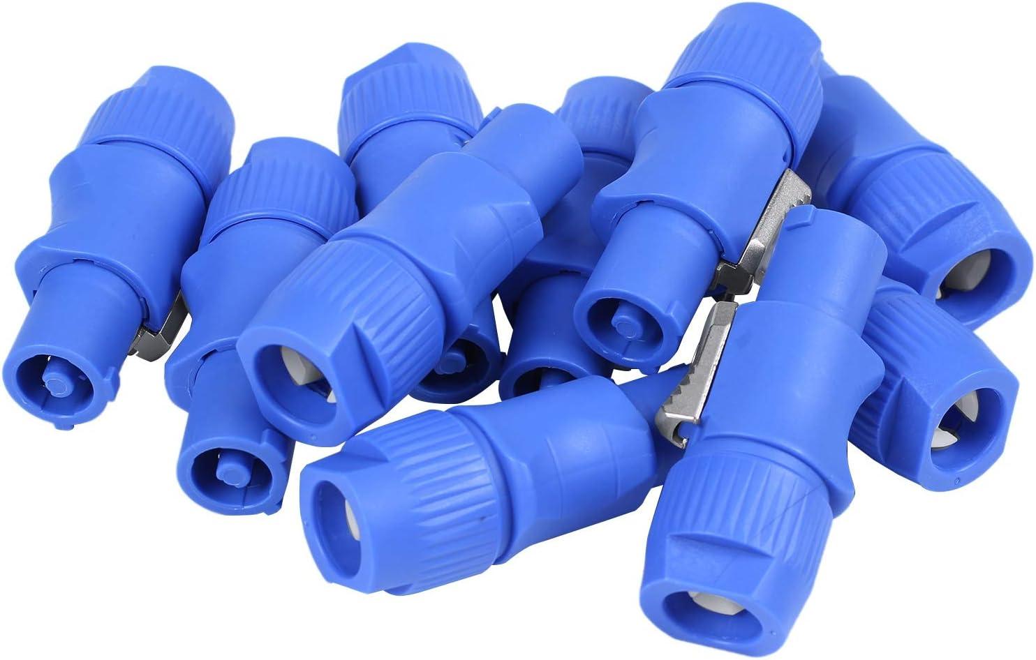 Kuinayouyi 10Pcs//Lot Nac3Fca Speakon Plug 3 Pin Male Powercon 20A 250V Ac Power Plug Blue