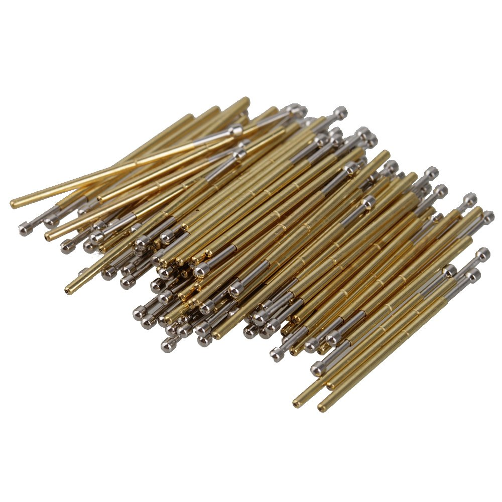 BQLZR Golden and Silver 0.68mm Length 16.55mm 75g P50-D2 Spring Spherical Tip Test Probes Pogo Pin Receptacle Pack of 100 N07468
