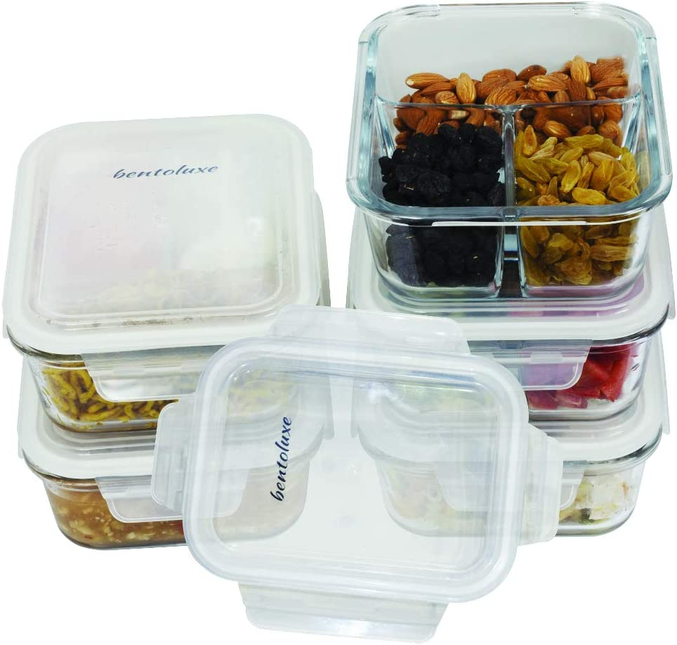 Glass Meal Prep Containers 3 Compartment with Lids[5 Pack],Glass Lunch Containers,Food Prep Lunch Box,Bento Box,BPA-Free, Microwave, Oven, Freezer, Dishwasher Safe (34 oz)