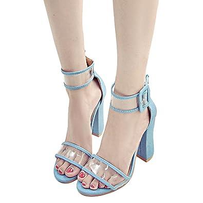 948cb8e1de7 Juleya High Heels Sandals Women s Shoes 10 cm Transparent Chunky Block Heel  Sandals Fashion Buckle Strap Shoes