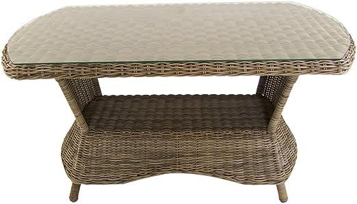 Mesa para jardín de 130 cm x 80 cm, Color Natural Envejecido, Cristal, Aluminio y Fibra sintética: Amazon.es: Jardín
