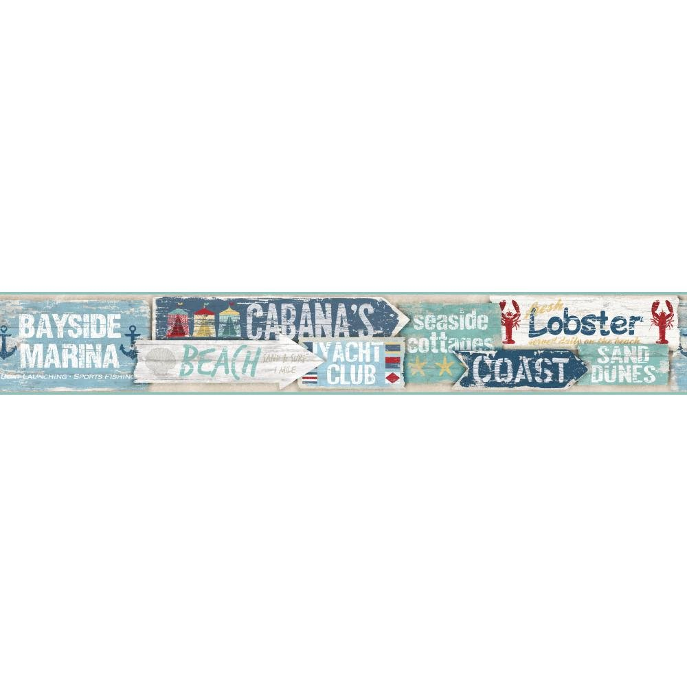 York Wallcoverings NY4877BD Nautical Living Beach Signs Border, Caribbean Blue/Aqua/Grey/Beige/Red/Gold