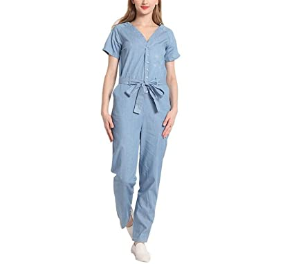 ec12daf25da4 Amazon.com  Habitaen V-Neck Denim Overalls Women Jumpsuit Sexy Bodysuit Rompers  Short Sleeve  Clothing