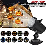 Syslux Halloween Christmas Lights Projector, 12 Slides Indoor Outdoor Holiday Lights Halloween Xmas Home Wedding Birthday Party Garden Decorations