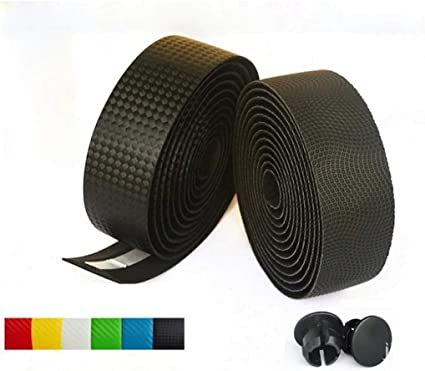 2 Bar Plug Carbon Fiber Belt Strap Road Bike MTB 2 Cycling Cork Handlebar Tape