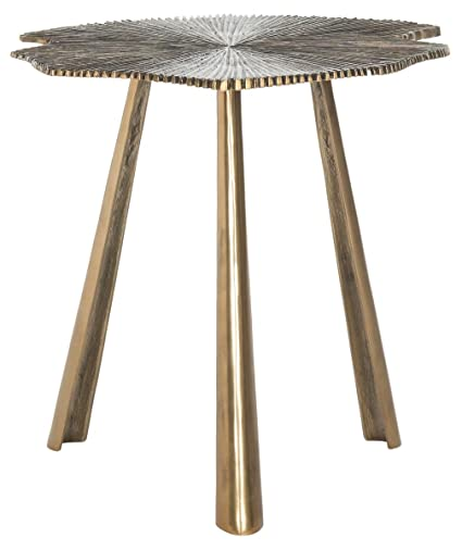 Amazoncom Safavieh Home Collection Portia Brass Leaf Side Table