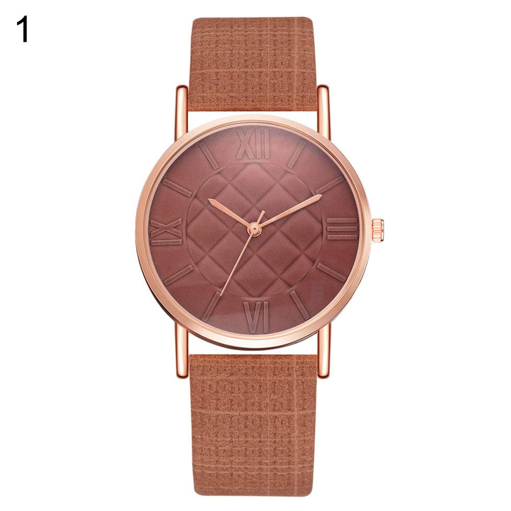 yanbirdfx Fashion Women Geometric Rhombus Roman Numerals Faux Leather Quartz Wrist Watch - Coffee