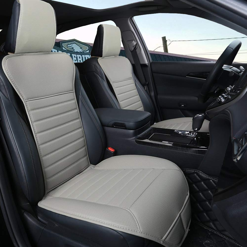 Black Sleek Design Full Size 2 PCS Breathable Universal Four Seasons Interior Front or Back Seat Covers for Auto Supplies Office Chair with PU Leather Big Ant Car Seat Cushion