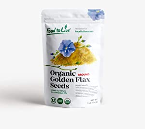 Organic Ground Golden Flaxseed Meal (Cold-Milled, Raw, Non-GMO, Kosher, Bulk) by Food to live — 1 Pound