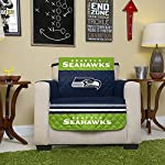 Pegasus Home Fashions NFL Seattle Seahawks Chair Reversible Furniture Protector with Elastic Straps, 75-inches by 65-inches