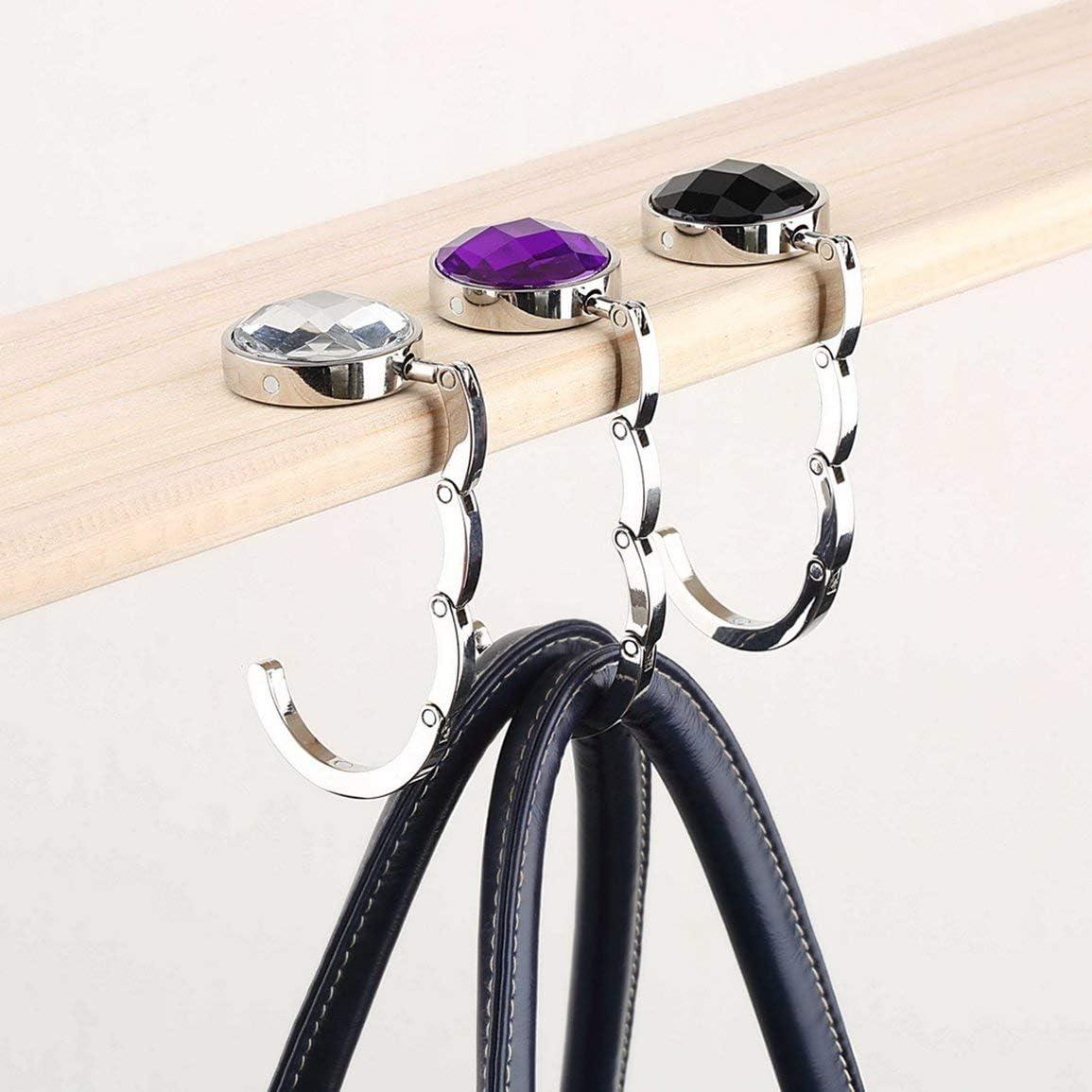 Portable Crystal Alloy Wallet Holder Handbag Hook Foldable Hangbag Hook Desk Hanger Multiple Pocket Accessories