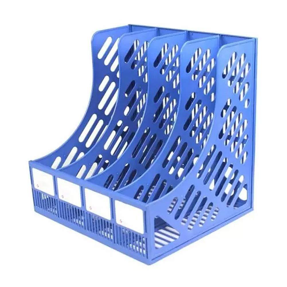 robusto pratico organizer da scrivania colore: blu in plastica a 4 scomparti multiuso Armadietto portadocumenti verticale