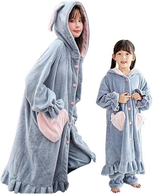 HXGpajamas Bata De Niños Bata De 2 Piezas Albornoz con Capucha Y Toallas para Mujer Toalla De Felpa 100% Algodón Suave Alisado Azul Claro Cómodo (Size : Baby-120): Amazon.es: Hogar