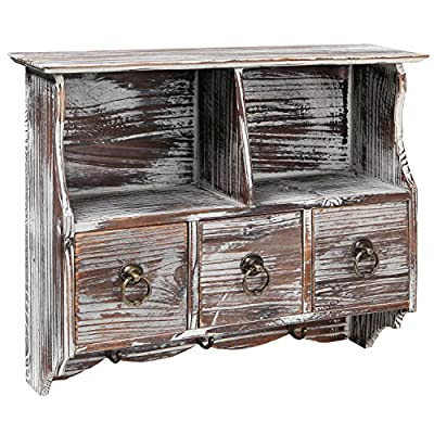 MyGift Country Rustic Torched Wood Wall-Mounted Organizer Shelf Rack/Wall Cabinet with Drawers & Metal Hooks - Add rustic charm to your living space with this multi-purpose wall mounted distressed brown wood shelf / cabinet. Features a full top shelf, 2 cupboard style recesses, 3 small pull-out drawers, and 3 metal hooks below for hanging keys, hats, aprons, towels, cooking utensils and more. Ideal for organizing and displaying picture frames, vases, and other cherished objects and decorations. - wall-shelves, living-room-furniture, living-room - 61mQGWTV6OL. SS400  -