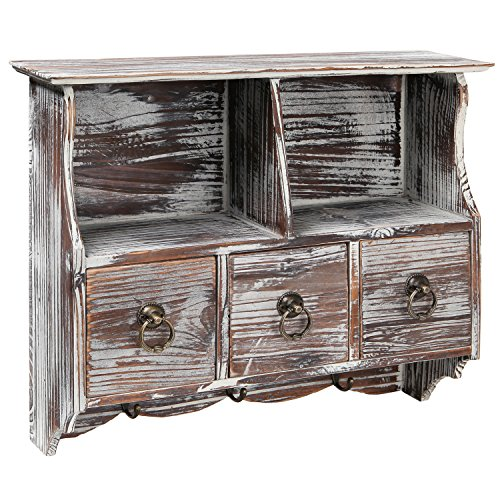 MyGift Country Rustic Torched Wood Wall-Mounted Organizer Shelf Rack/Wall Cabinet with Drawers & Metal Hooks