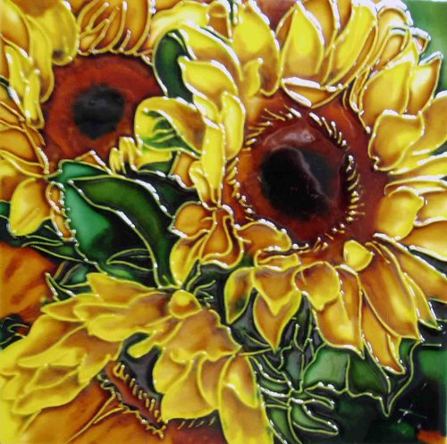 (Continental Art Center BD-2042 8 by 8-Inch Yellow Sunflower with Green Leaves Ceramic Art Tile)