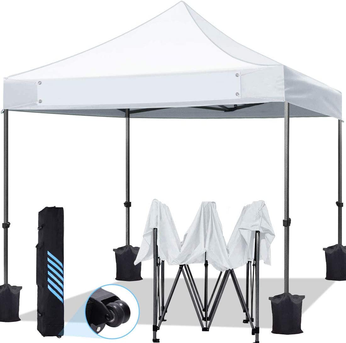 KING BIRD 10 x10 Ez Pop Up Canopy Tent, Outdoor Commercial Instant Shelter with Banner, Heavy Duty Roller Bag, 4 Weight Bags, White