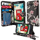 NextKin LG Optimus L70 MS323 Leather Pouch Wallet Card With TPU Gel Protector Cover Case - Japanese Morning Glory