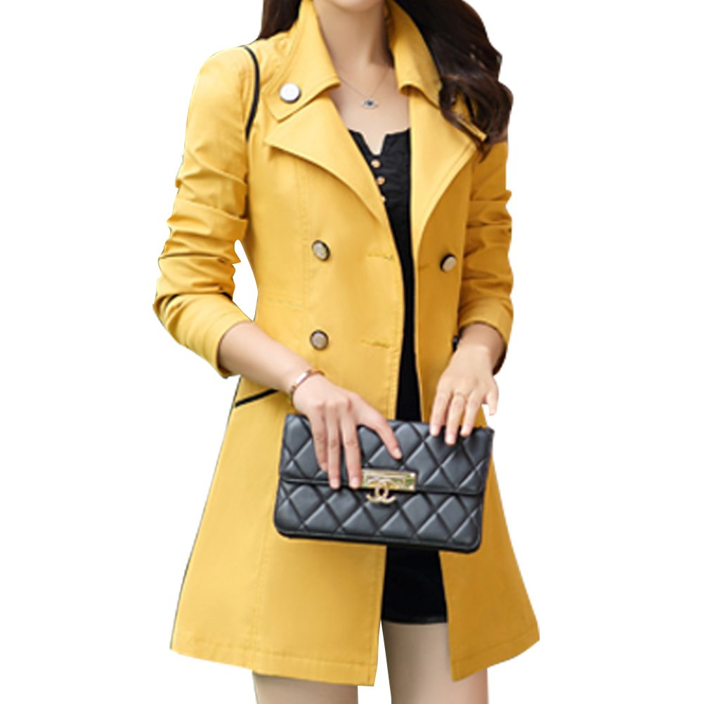 Yellow Woman Trench Spring Autumn Winter Woman Crusader Jacket Coat Trench Cotton (color   bluee, Size   XXL)