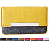 BLOME DESIGN PU Leather Business Card Case Credit Card & ID Holder Card Wallet with Magnetic Closure (Yellow)