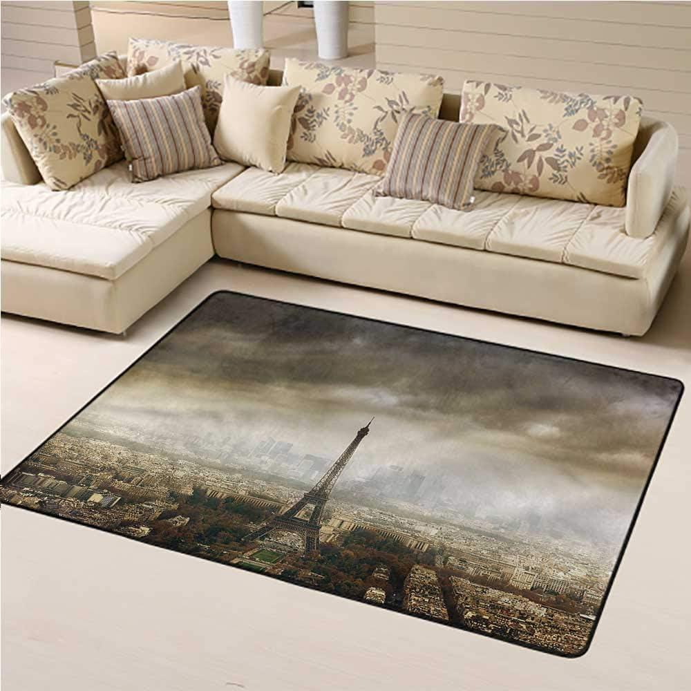 Outdoor Area Rug Eiffel Tower Soft Indoor Mat Decorative Carpet Paris Skyline City 6' x 9' Rectangle