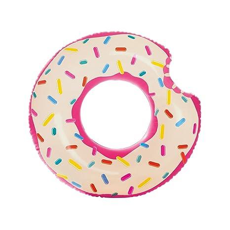 Flotador Donut Mordido Diseño Blanco Adulto Medidas 107x99 cm. Flotador rosquilla para Playa o Piscina