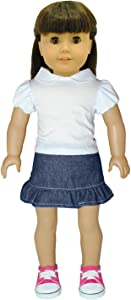 Pink Butterfly Closet Doll Clothes - Fashion Jean Skirt and Shirt White Shirt Combo Fits American Girl Doll and 18 inch Dolls