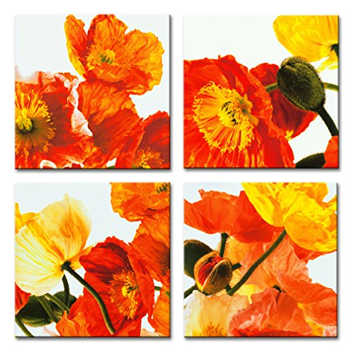 Framed Poppy Set Print - Canvas Wall Art Corn Poppy Flowers Picture Print on Canvas Landscape Painting Contemparacy Artwork Stretched Framed Ready to Hang for Home Decor 4 Panels Set(30x30cmx4pcs)
