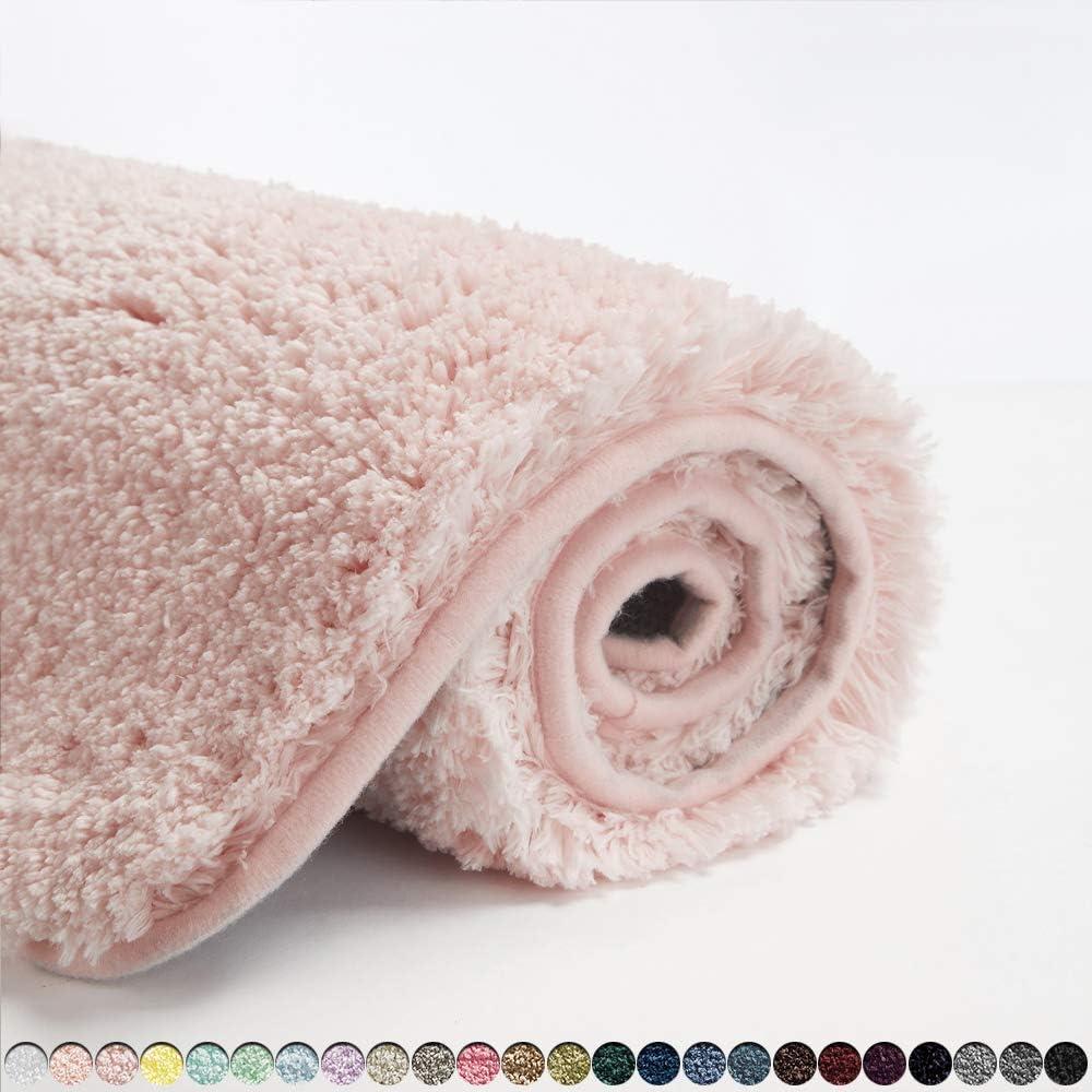 Suchtale Bath Rug for Bathroom Non Slip Bathroom Mat (20 x 32, Dusty Pink) Water Absorbent Soft Microfiber Shaggy Bathroom Rug Machine Washable Bath Mat for Bathroom Thick Plush Shower Mat