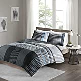 Comfort Spaces Benjamin Mini Quilt Set - 2 Piece - Black/White - Stylish Ultra Soft Cozy Warm Microfiber Plaid Twin/Twin XL Size, Includes 1 Coverlet and 1 Sham